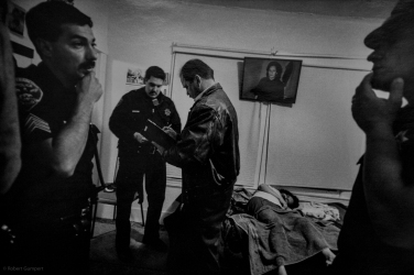 1994: SF homicide detective speaks with beat cops who answered a call from the woman's son who discovered her body. She was a victime of domestic violence.